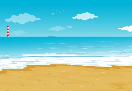 sunny beach: illustration of an ocean and a light house in a beautiful nature