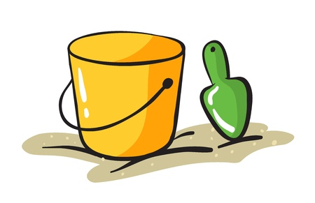 scraper: illustration of yellow bucket and scraper on a white background Illustration