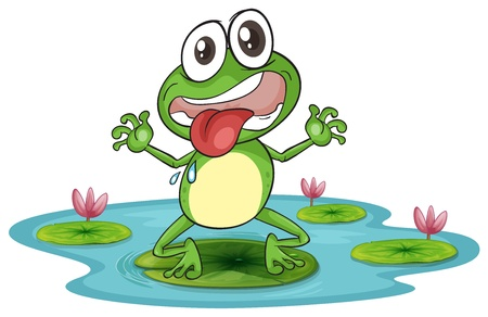 crazy frog: illustration of a frog and a water on a white background