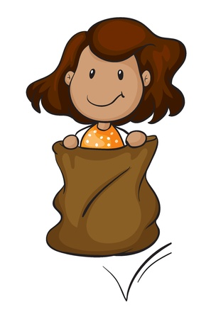 sacks: detailed illustration of a girl in a sack on white background