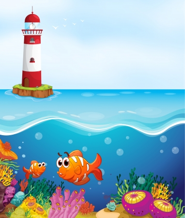 sea scenery: illustratio of a light house, fishes and coral in sea