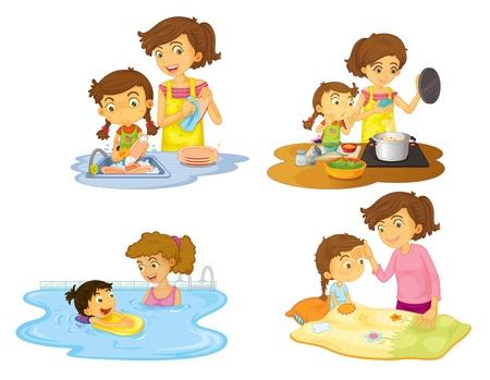 dish washing: Illustrazione delle ragazze su uno sfondo bianco Vettoriali