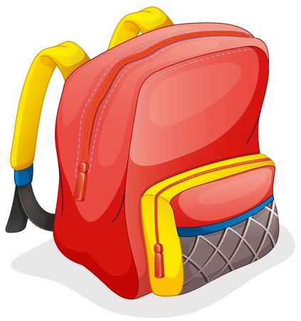 empacar: ilustraci�n de una mochila escolar sobre un fondo blanco Vectores