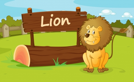 illustration of a lion in a beautiful nature illustration