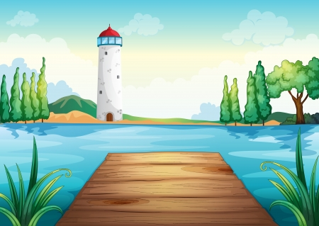 lake shore: illustration of a light house and wooden bench Illustration