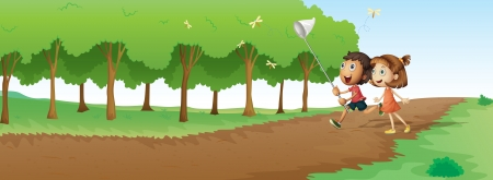 illustration of kids in a beautiful nature Vector