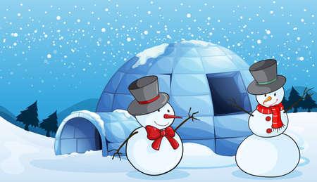 тундра: Иллюстрация иглу и снеговиков в природе