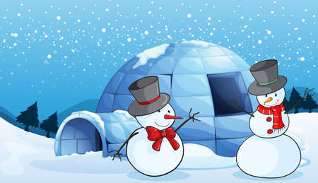igloo: illustration of an igloo and snowmen in nature