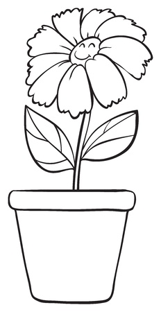 illustration of a blue flower and pot sketch on white background Stock Vector - 16115079