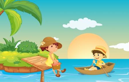 ilustración de un río y los niños en una hermosa naturaleza Ilustración de vector
