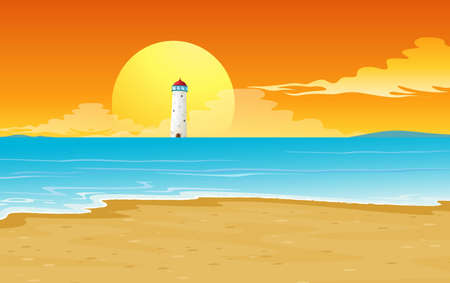 illustration of a light house and sun in nature Vector