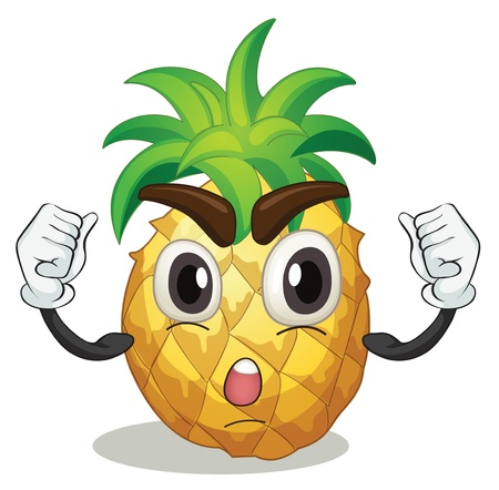 crazy face: illustration of a pineapple on a white background