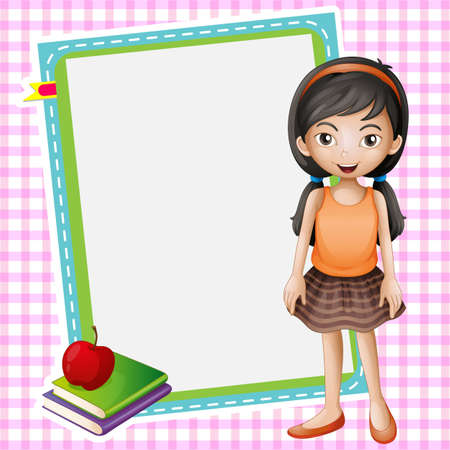 illustration of a girl, books and a white board  Vector
