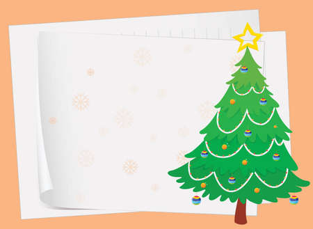 illustration of paper sheets and a christmas tree on a color background Vector