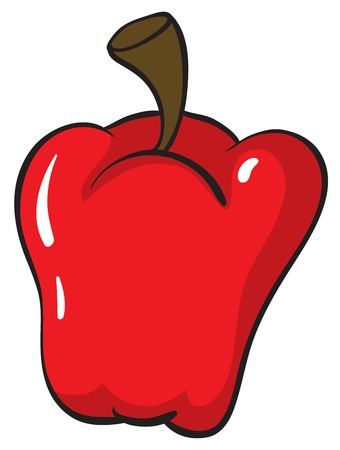 fruit clipart: illustration of a red capsicum on white background