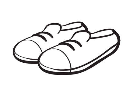 shoes cartoon: illustration of a shoe outline on a white background