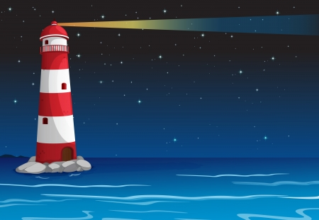 illustration of a light house in dark night  Vector