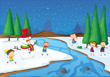 illustration of kids and a snowman playing near a river Vector