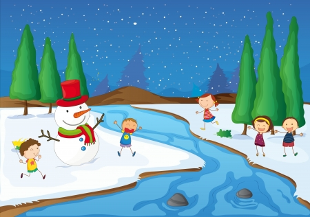illustration of kids and a snowman playing near a river illustration