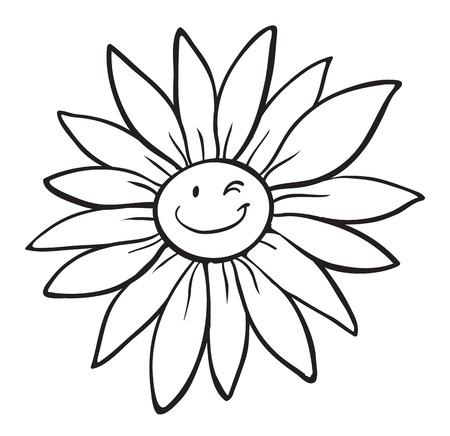 zwart wit tekening: illustratie van een bloem schets op witte achtergrond