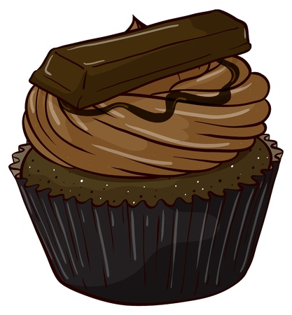 chocolate mask: Illustration of an isolated cupcake