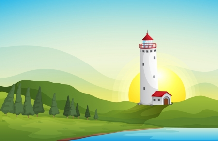 illustration of a light house in a beautiful nature illustration