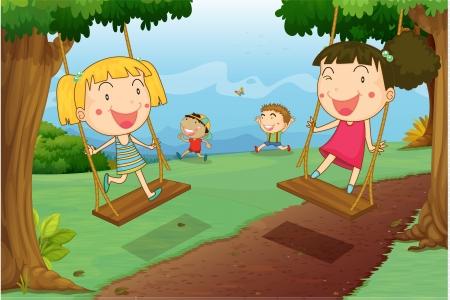 columpios: ilustración de niños jugando en una hermosa naturaleza Foto de archivo