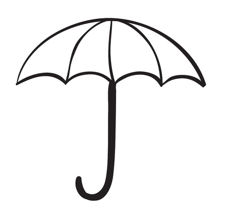 outline drawing: illustration of an umbrella on a white background Stock Photo