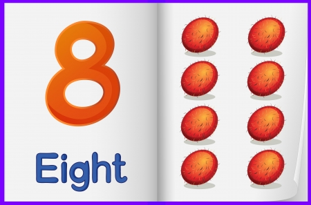 Counting number illustration sheet in book Vector