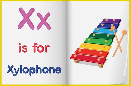 xylophone: Illustrated voabulary aprendizaje hoja en un libro