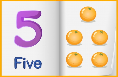 oranges: Counting number illustration sheet in book