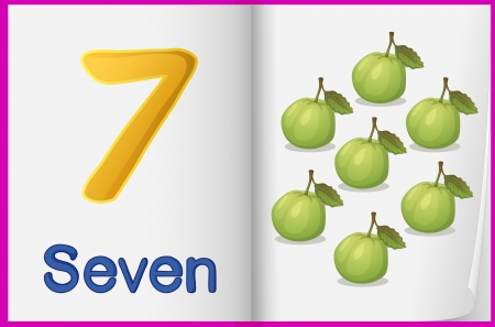 guava fruit: Counting number illustration sheet in book