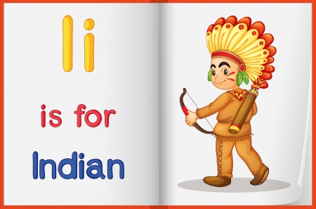 indian student: Illustrated voabulary learning sheet in a book
