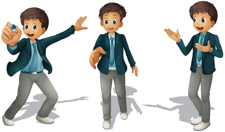full pant: illustration of boys on a white background Illustration