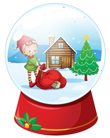 snow globe: illustration of kids and a house in a round glass