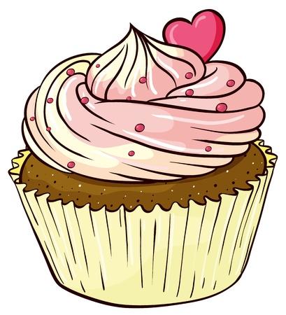 Illustratie van een geïsoleerde cupcake