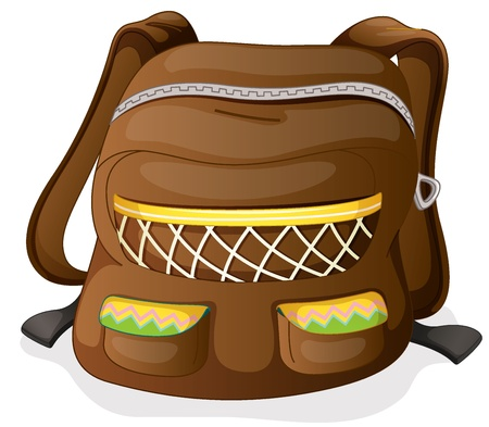 1 school bag: illustration of a school bag on a white background  Illustration