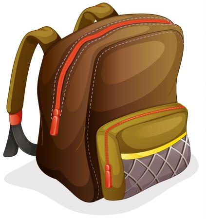 mochila escolar: ilustración de una mochila escolar sobre un fondo blanco Vectores
