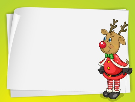 illustration of a paper sheets and a reindeer on a fluorescent background Vector