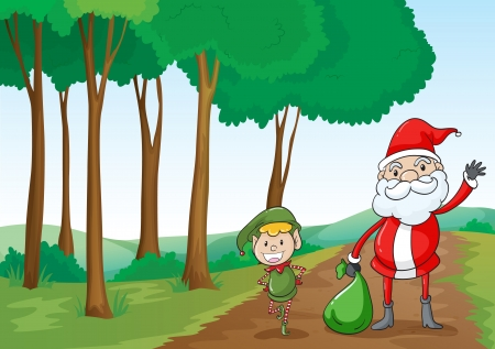 moutain: illustration of a  boy and a santa claus in a beautiful nature