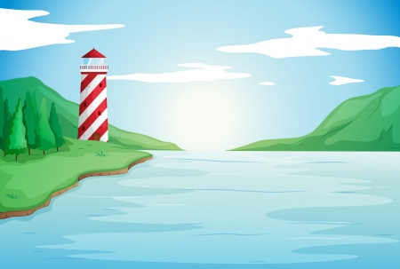 illustration of a light house in a beautiful nature Vector