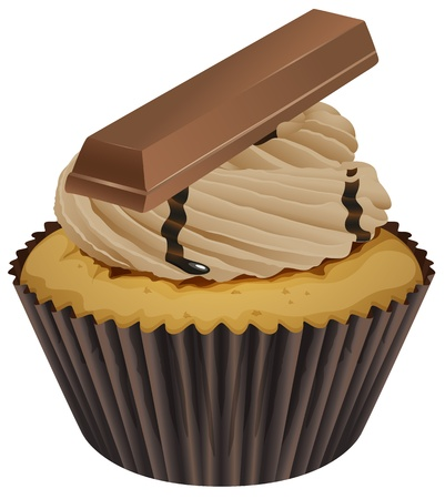 mini bar: Illustration of an isolated cupcake on white