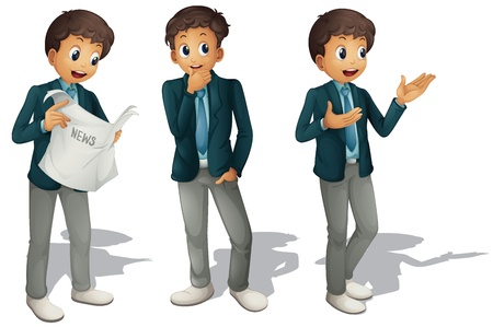 business man: illustration of three boys on a white background