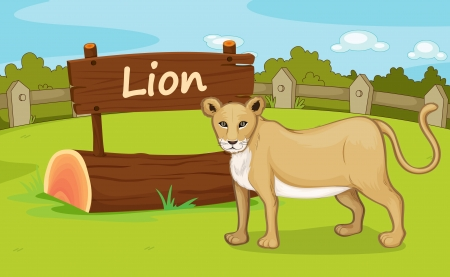 lioness: Illustration of animal enclosure at the zoo