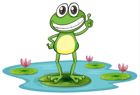 illustration of a frog with lotus plants on white Vector