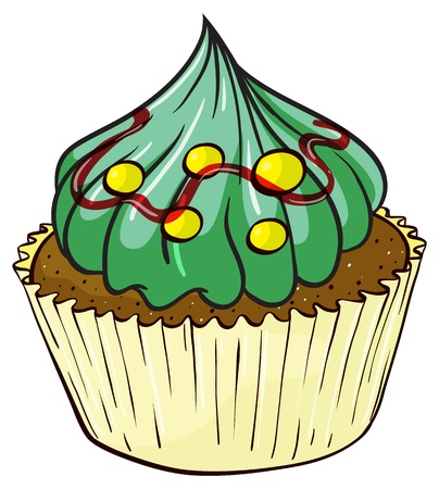 yum: Illustration of an isolated cupcake on white