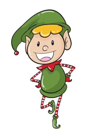 green elf: illustration of a boy on a white background