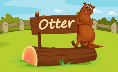 otter: Illustration of animal enclosure at the zoo