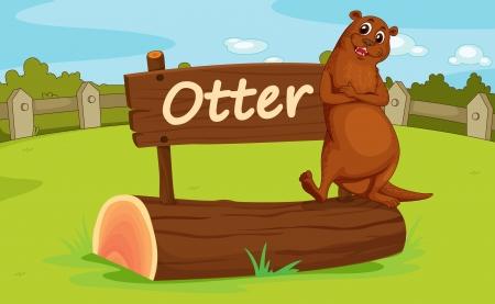 nutria caricatura: Ilustraci�n del recinto de animales en el zool�gico Vectores