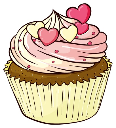 Illustration of an isolated cupcake on white
